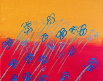Blue flowers on pink and orange