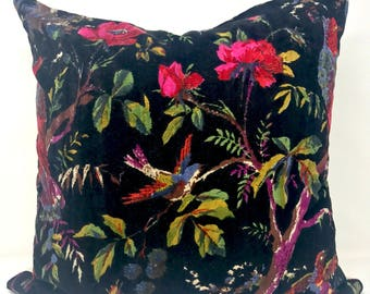 "20"" x 20"" Pillow Cover, Cotton Velvet Bird Print"