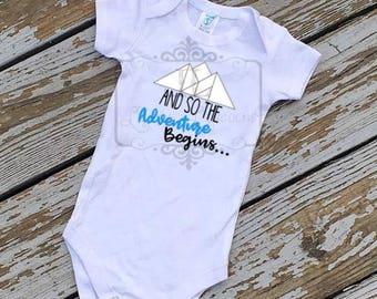 Adventure shirt, And So the Adventure begins, Baby announcement, baby shirt, boys shirt, Baby adventure shirt, outdoors shirt, camping shirt