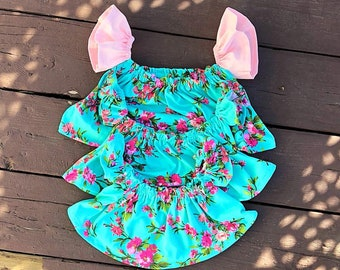 Floral Crop top, Off shoulder top, Floral flutter top, flutter top, OTS top, teal floral top, baby crop top, baby flutter top, floral top