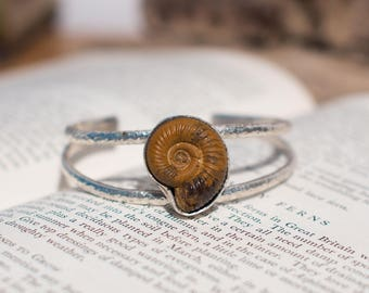 Ammonite bracelet, fossil bracelet, silver cuff, ammonite bangle, fossil bangle, fossil jewellery, ammonite jewellery, fossil jewelry