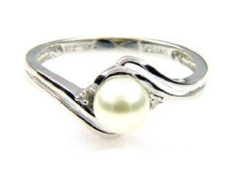 10K Pearl Ring, 10K White Gold Genuine Freshwater White Cultured Pearl & Diamond Accent Ring .01ct - Gift for Her