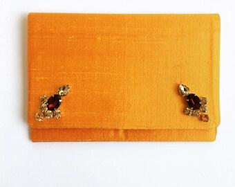 Yellow / mustard Raw silk Foldover Clutch Bag with Rhinestones, Dupion Silk Handbag, elegant Evening wear, beautiful accessory