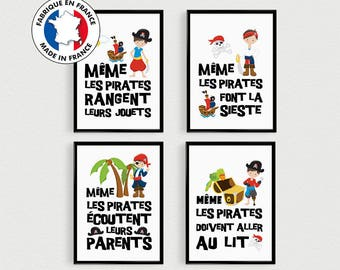 PROMO: Set of 4 POSTERS quote young Pirates for child's room - poster quote, kids decor - Boy gift