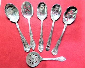 Vintage Silver Plate  Bon Bon Spoons - Mixed Patterns - Collection of 6