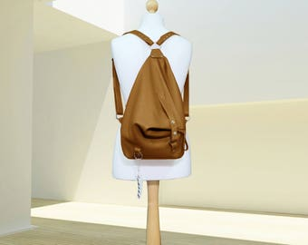 Leather backpack purse minimalist Woman leather rucksack brown Leather Shoulder Bag college knapsack backpack leather bag Women's daily bag