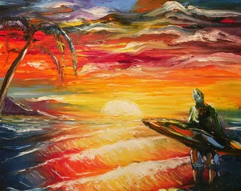 "Ocean - Surf - Surfer - sunset - ""Surf at sunset""  oil painting by U.S. artist Greg Gilreath"