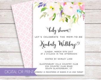 Baby Shower Invitation, Gender Neutral Baby Shower Invite, Floral Shower Invitation, Printed Invitation, Printable Invitation