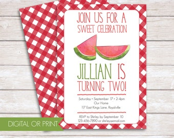 Watermelon Invitation, Sweet Celebration Invitation, Printed Invitation, Printable Invitation, Picnic Birthday, Gingham Invitation