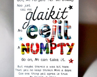 Scottish Belated Birthday Card 'Glaikit, Eejit, Numpty'  WWBI47