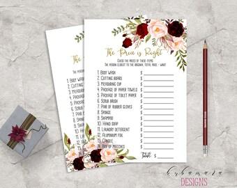Marsala Printable The Price is Right Bridal Shower Game Floral Quiz Burgundy Pink Peonies Flowers Wedding Trivia Bridal Quiz - BG018
