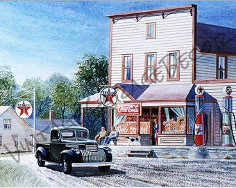 Texaco Oil Gas Station Reproduction Garage Shop Sign - Jack Schmitt Artwork on Metal Sign