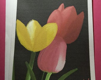 Tulips Art Notecards (set of 6 folded cards with envelopes in a clear box) - springtime art print