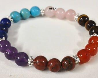 Bracelet wellness 7 chakra stones gems.