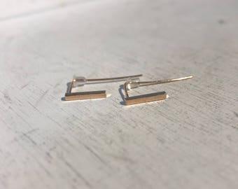 Rose Gold Simple Bar Earring
