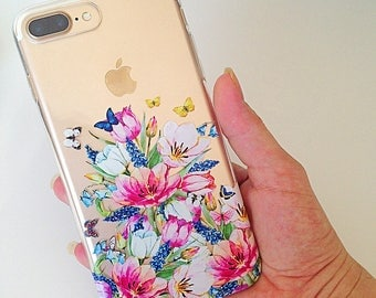 Floral iPhone 7 Plus Case Flower iPhone 7 Case Floral iPhone 6 Case iPhone 7 Cover iPhone 6s Case Silicone iPhone Case Christmas Gift //329