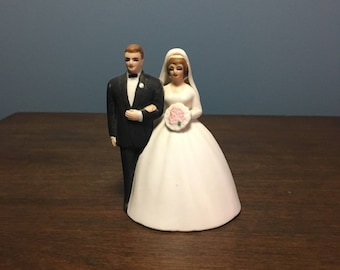 RARE Vintage 1980's Lefton Bisque Wedding Cake Topper Bride and Groom Bell/Figurine (CT #10)