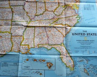 Vintage Usa Map Etsy - Vintage map of us
