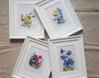 Picture. Embroidery with silk ribbons. 4 pcs.