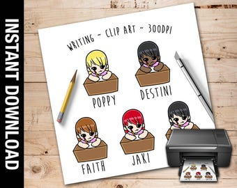Writing Inspired Clip Art, Instant Download, PNG File, Writing Clip Art, Writing Chibi, Scrap Book, Writing Design, Sticker, Writing