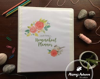 Printable Teacher / Student / Homeschool 22 Page Complete Planner { UNDATED } Tufted Titmouse & Watercolor Roses