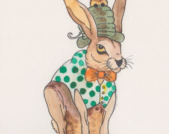 Mini original watercolor painting of a mad hatter. Small original artwork rabbit the perfect lighthearted gift. Wildlife art home decor