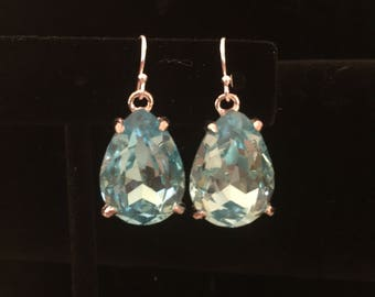 Blue Crystal Drop Earrings