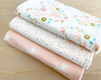 Baby Burp Cloths Set of 3, Baby Gift, Baby Shower, Newborn Burp Cloths, BabyGirl Burpcloths, Deer Burpcloths