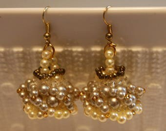 Beautiful Pearl, crystal and glass-beaded earrings; handmade, beadweaving, Dangle & Drop, elegant, party-wear, costume-wear