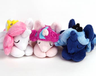 Pony Plush Handmade Custom Sleepy Pony Princess Celestia Flurry Heart Princess Luna