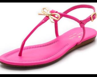 Kate Spade Tracie Gold Bow Pink Thong Sandals Sz 7
