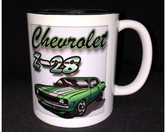 Hot Rod, Custom Car Coffee Mug, Street Rod, Roadster, Z28, 69 Camaro, Cowl Induction