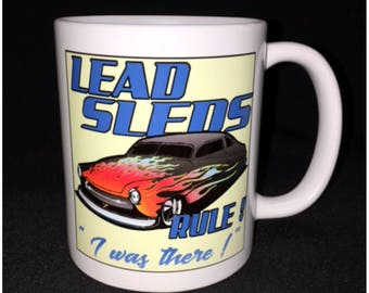 Hot Rod, Custom Car Coffee Mug, Flamed 50 Mercury,Lead Sleds, Street Rod, Chop Top, Low Rider