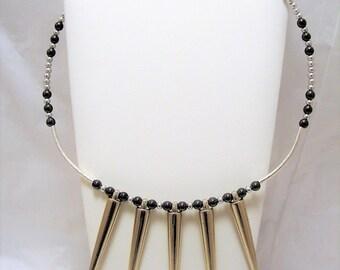 Spiked Necklace, Hematite Beaded Necklace, Beaded Spiked Necklace, Spiked Jewelry, Biker Jewelry, Goth, Bohochic