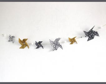 Yellow/gray decoration Garland windmills bedroom child and baby