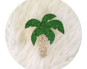 "✨✨Mettez glitter in your life with canvas glitter micropaillete ""Palm"" brooch"