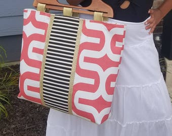Black White Coral Tote Bag - Gold Faux Leather - Beach Bag, Work Bag, Travel Bag, Laptop Bag, Diaper Bag - Geometric Bag - Striped bag