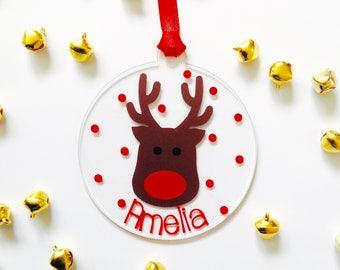 Personalised Rudolf Reindeer Christmas bauble ornament