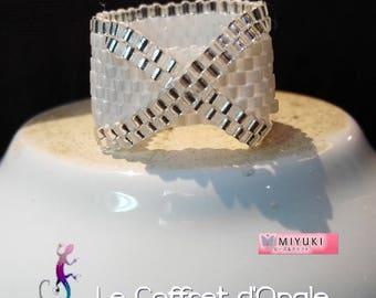 """Ring """"Teikei"""" white miyuki beads woven"""