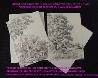 1 SET - Artist - Note Cards for Hurricane Harvey victims! Printed from original Pen