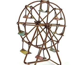 20% OFF STOREWIDE Miniature Rustic Ferris Wheel for Fairy Garden and Summer Decor, Metal Carnival Ride Accessory in Red, Blue, and Yellow