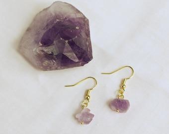 Amethyst Nugget Drop Earrings