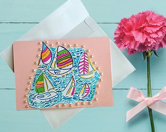 Sailboat Note Cards, Gift Card Set, Summer Cards, OCEAN CARDS, BLANK Note Cards, Blank Greeting Cards, Note Cards Handmade