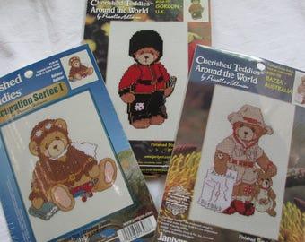 3 Janlynn Cherished Teddies Teddy Bear Cross Stitch Kits Bazza Australia / Gordon UK / Occupation Aviator