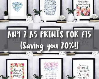 Two A5 Prints Offer - Over 20% OFF - Inspirational quotes - Bible verse prints - Christian Gifts - Christian Prints - Christian Wall Art