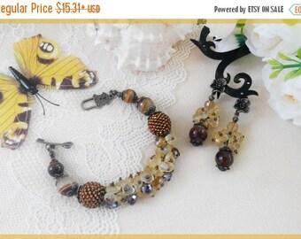 Sale Brown beaded bracelet Brown beaded earrings Citrine agate bracelet Agate earrings Woman brown jewelry set Christmas gift Tigers eye bra