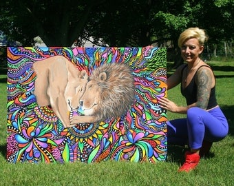 Abstract Lion Painting - Lion Painting - Original