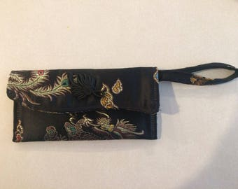 Black Silk Korean Evening Bag