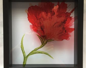 Alcohol Ink - Red Bloom on glass