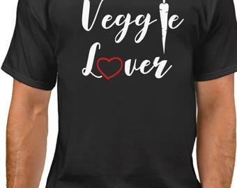 Men's - Veggie Lover T Shirt - Vegan Tee - Animal Lovers - Vegetarian T-Shirt - Love For The Animals